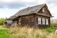 Abandoned old rural wooden house in russian village