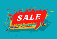 Sale colorful vector. Cloud message sandwich style on background