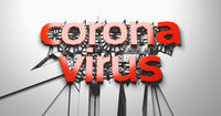 Coronavirus red lettering of three dimensional letters and numbers against a cracking white wall. 3d illustration