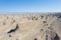 aerial view of wind erosion physiognomy landscape in qinghai