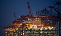 Container terminal, Burchardkai, Hamburg, Hamburg harbor, Elbe, container bridge, container ship, po