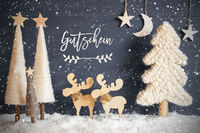 Tree, Moose, Moon, Snow, Gutschein Means Voucher, Snowflakes