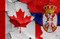 flags of Canada and Serbia painted on cracked wall