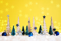 Christmas Tree, Snow, Blue Stars, Ball, Copy Space, Yellow Background