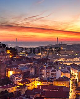 Lisbon cityscape at sunset