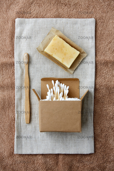 wooden toothbrush, handmade soap cotton swabs