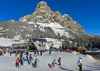 Skistation Corvara, Kurfar, vor dem Gipfel Sassongher, Alta Badia, Dolomiten, Südtirol, Italien