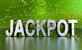 The word jackpot on a green background with golden glitter! Lottery or winner concept.