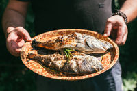 A man holds a plate with a ready meal. delicious and fresh grilled fish with lemon on the Barbeque grill at the garden in summer. Selective focus macro shot with shallow DOF