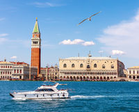 Doge's palace and the Camapanile, Grand canal of Venice, Italy