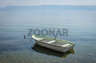 White boat in Lake Ohrid, North Macedonia