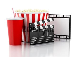 cinema clapper, popcorn and drink. 3d image