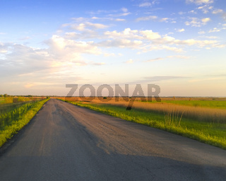 Countryside road in cloudy evening