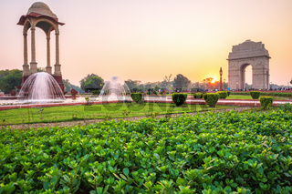 Rajpath Sitting Park with India Gate and the Canopy, New Delhi, India