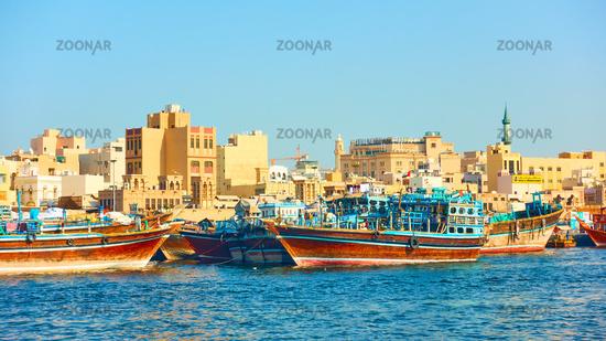 Arabian Dhow boats on the berth in Dubai