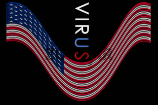 USA flag in crisis virus is setting the states under pressure