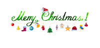 Merry Christmas garland of colorful toys and icons isolated