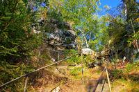 Wanderweg im Zittauer Gebirge - hiking trail in Zittau Mountains, autumn
