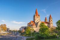 Vienna Austria city skyline at St. Francis of Assisi Church