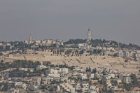 View of Mount of Olives over the old city of Jerusalem in Israel