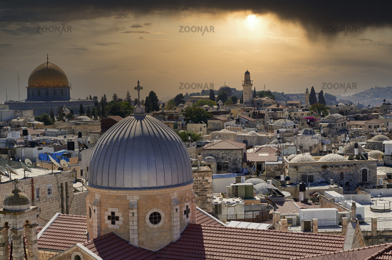 Jerusalem Israel. Dramatic sunset on the old city