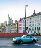 Retro automobile, downtown, Frankfurt, Germany