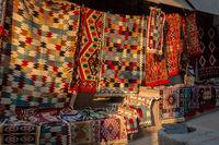 Kilims or traditional carpets at Gjirokaster Bazaar in Albania