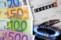 Strom- und Gaszähler mit Euro-Geldscheinen