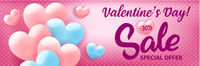 Valentines day shopping sale invitation advertising banner with pink hearts on blue background, vector illustration.