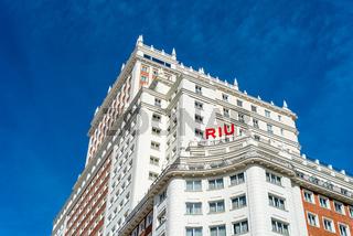 Low angle view of Riu Plaza Espana Hotel in Madrid