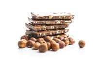 Milk chocolate bars and hazelnuts