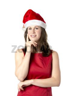 Santa Woman with finger at cheek