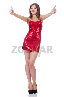 Woman giving thumbs up isolated on white
