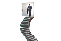 Concept of career ladder and door with businessman