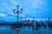 San Giorgio Maggiore in Venedig vom Markusplatz in der Morgendaemmerung