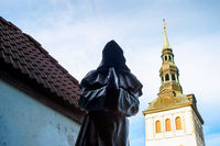 Monk statue, church Tower, Tallinn