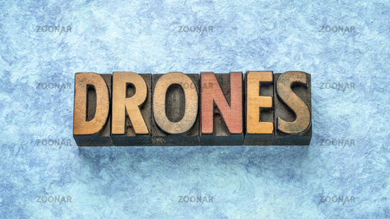 drones word abstract  in wood  type