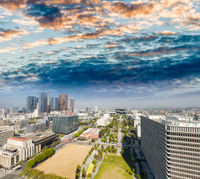 Los Angeles, California. Aerial view of Downtown skyline at sunset