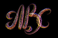 ABC - The capital letters handwritten made of multicolored luminous circles isolated on black background
