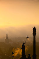 Sunrise over Lesser Town, Prague, Czech Republic. Lesser Town is a hillside area with views across the Vltava river to the old town.