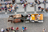 Carriage seen by looking downward from Old Town Hall Praha