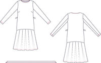 Technical drawing of wrap dress. Fashion template.
