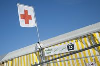 Red Cross flag on aid station