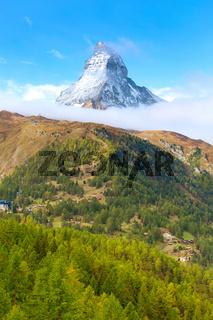 Matterhorn peak and alpine village, Switzerland