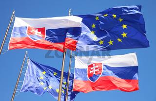 Flags of EU and Slovakia