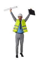 Foreman with arms raised