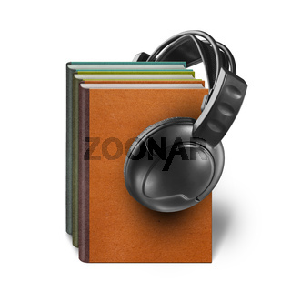 headphones with books isolated on white