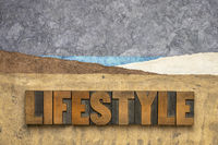 lifestyle word abstract in wood type