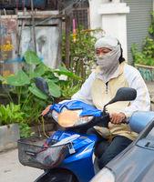 Portrait motorbike driver man Thailand