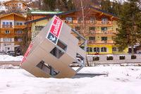 Saalbach, Austria cityscape, big cube